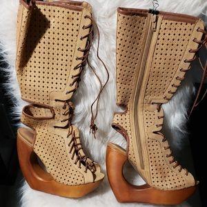 JEFFREY CAMPBELL zip/lace wedges!!